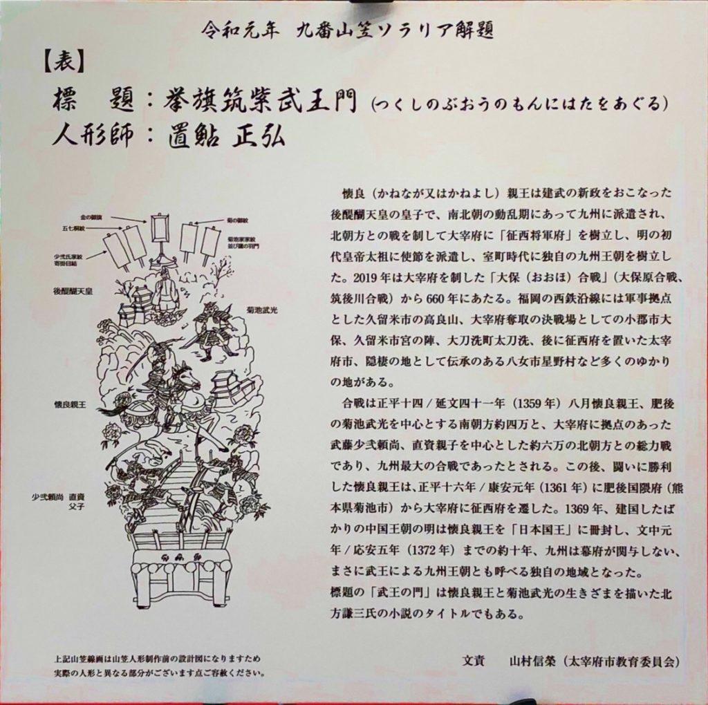 令和元年九番山笠表の説明書き